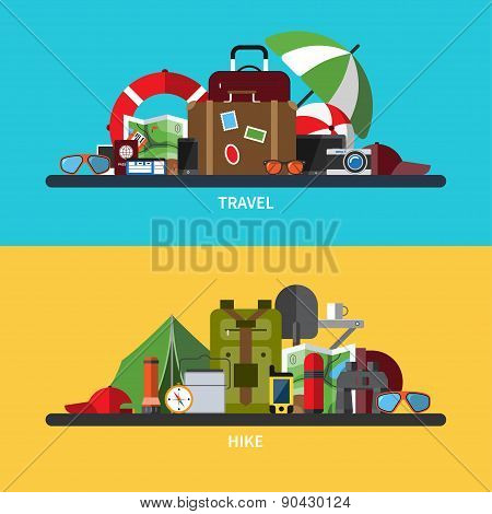 Illustrations set of tourism, traveling, hiking