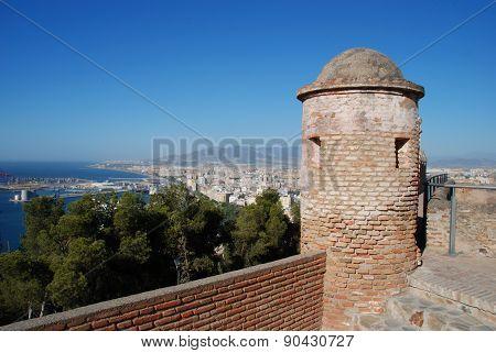 Gibralfaro Castle tower, Malaga.