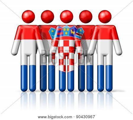 Flag Of Croatia On Stick Figure