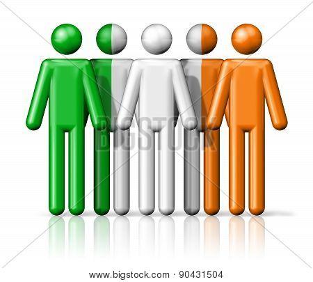 Flag Of Ireland On Stick Figure