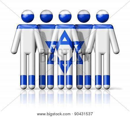 Flag Of Israel On Stick Figure