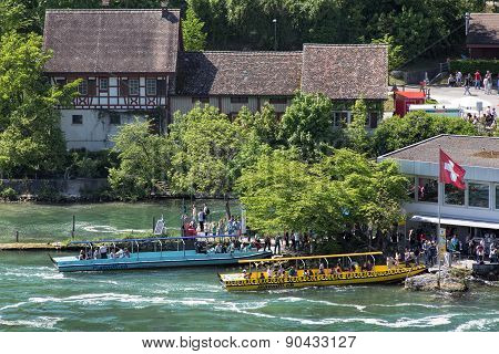 Boats At Rhine Falls