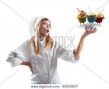 Chef surprised by pastries