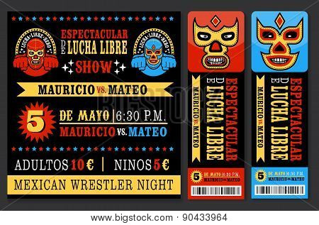 Mexican wrestler set. Lucha Libre