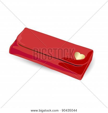Red clutch bag with gold for women
