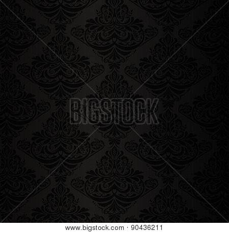 Black Damask Pattern With Vintage Floral Ornament