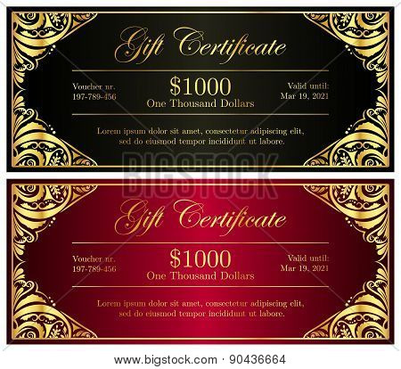 Luxury Black And Red Gift Certificate In Vintage Style