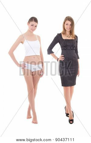 Morning, Before And After Concept - Young Slim Woman In Underwear And Dress Isolated On White