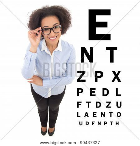 Beautiful African American Woman In Eyeglasses And Eye Test Chart Isolated On White