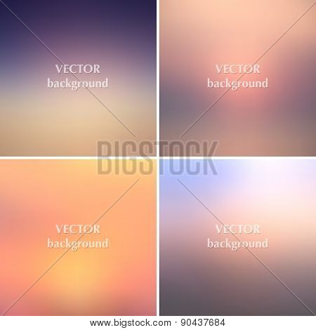 Abstract Sunset Blurred Vector Backgrounds Set