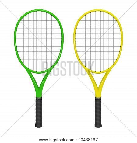 Two Tennis Rackets - Green And Yellow