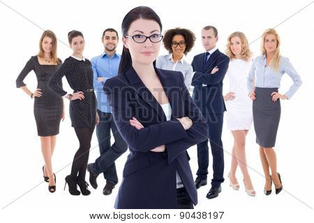 Leadership Concept - Young Business Woman And Her  Colleagues Isolated On White