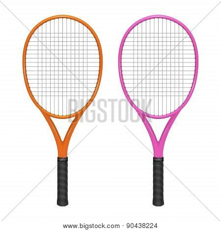 Two Tennis Rackets - Orange And Pink