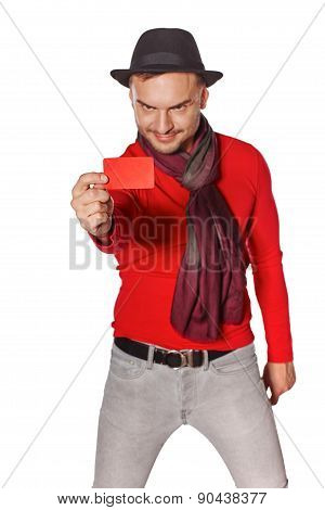 Man showing blank credit card