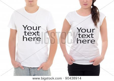 Man And Woman Showing T-shirts With