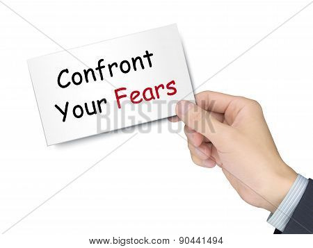 Confront Your Fears Card In Hand