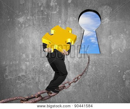 Man Carrying Golden Puzzle On Chain Toward Keyhole With Sky