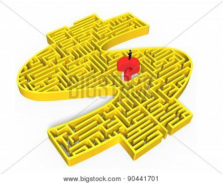 Man Standing Red Question Mark Yellow 3D Money Maze Center