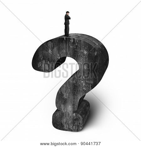 Businessman Standing On Huge 3D Concrete Question Mark White Background