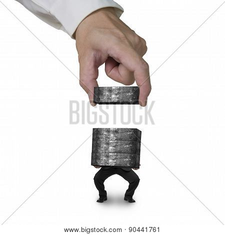 Hand Stacking Concrete Blocks Man Carrying Isolated On White
