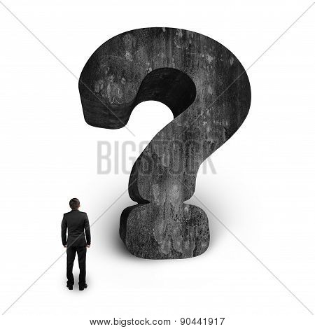 Man Looking At Huge 3D Concrete Question Mark White Background