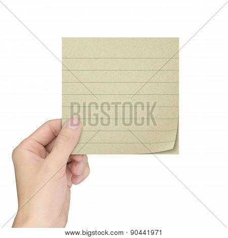 Business Concept: Man's Hand Holding A Note Paper