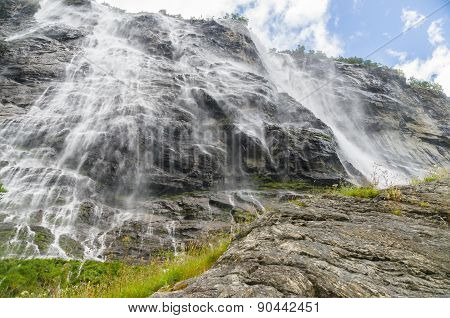 Norwegian Waterfall Seven Sisters From Pedestal View
