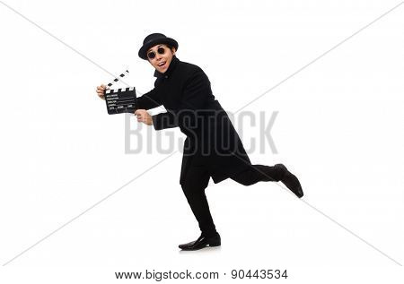 Young man with clapper-board isolated on white