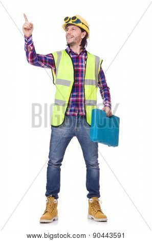 Young construction worker with toolbox isolated on white