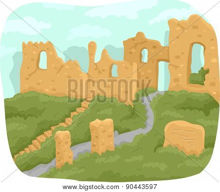 Illustration of the Ruins of an Ancient Structure