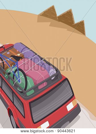 Illustration of an SUV Full of Camping Gear Headed Towards the Pyramids of Egypt