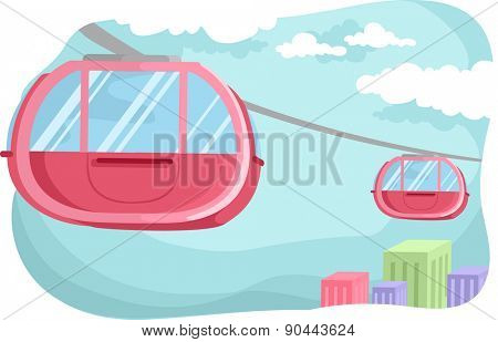 Illustration of a Pink Cable Car Hovering in the Middle of the Cable Railway
