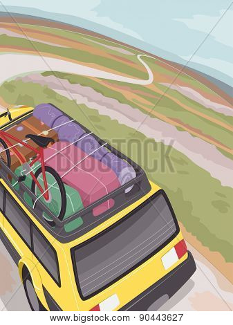 Illustration of an SUV Full of Traveling Essentials