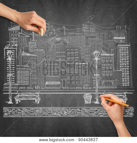 Idea travel background sketch and human hand with pencil