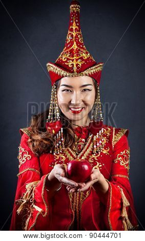 Kazakh Women With Red Apple
