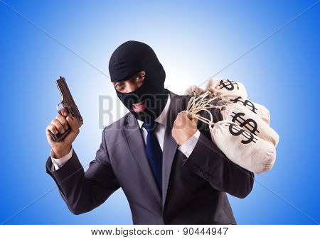 Gangster with bags of money on white