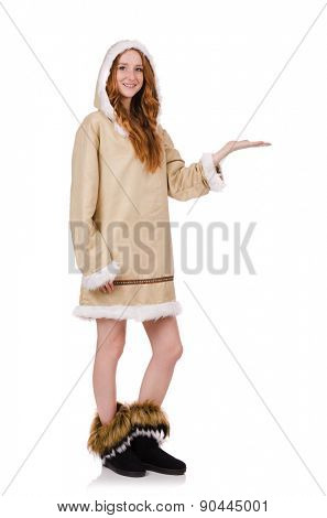 Eskimo girl wearing clothes of all fur isolated on white