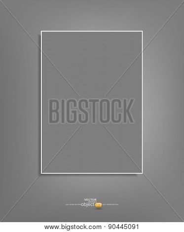 Vector background with a gray sheet of paper hanging on a gray wall (element for design,template)