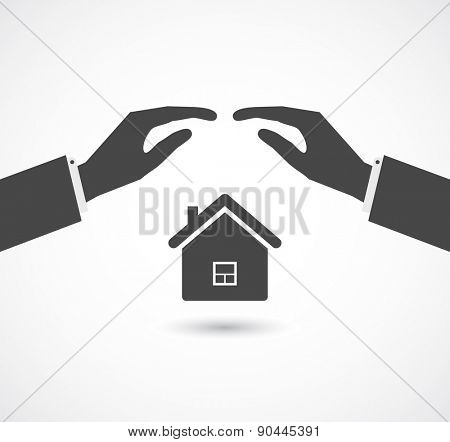 insurance concept, hands cover house icon design