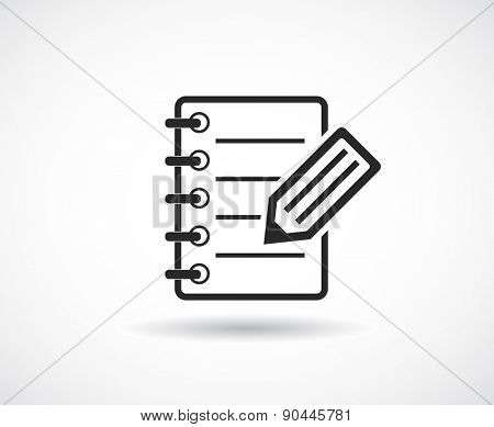notepad with pen pencil icon design