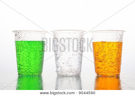 Three Different Color Of Carbonated Beverages
