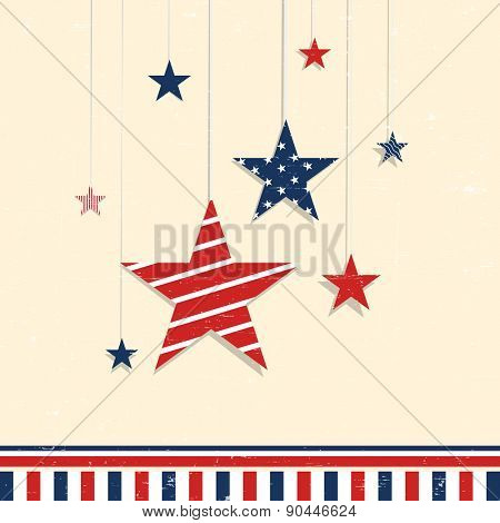 4th of July, American Independence Day celebration greeting card with hanging stars in national flag color.