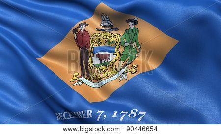 US state flag of Delaware with great detail waving in the wind.