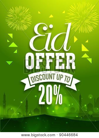 Shiny green sale poster, banner or flyer design decorated with fireworks and mosque silhouette  for Muslim community festival, Eid celebration.