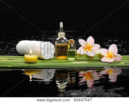 Still life with and candle, frangipani ,soap ,palm with row of plant stem