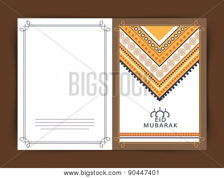 Beautiful greeting card design decorated with floral design for Muslim community festival, Eid celebration.