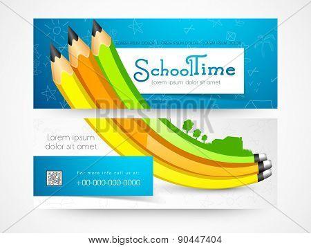 School time banner or website header set.