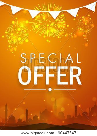 Beautiful special offer sale poster, banner or flyer decorated with shiny fireworks and mosque silhouette for Muslim community festival, Eid celebration.