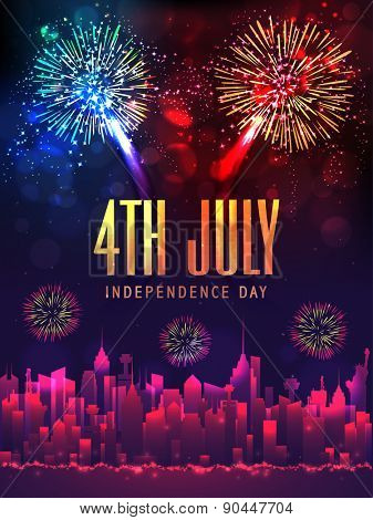 Creative illustration of shiny text 4th July, city view and sparkling fireworks for American Independence Day celebration.
