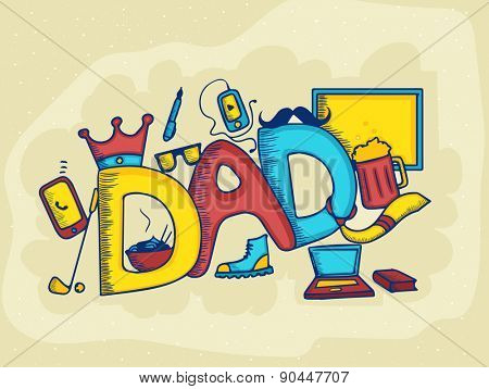 Happy Father's Day celebrations with stylish colorful text and ornaments.